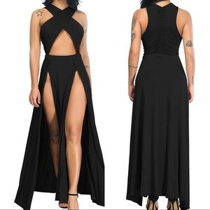 VEGAS NIGHTS BLACK THIGH  CRISS CROSS MAXI DRESS